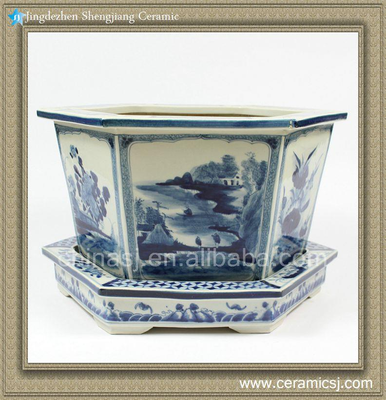 Exquisitely carved blue and White Pot Floral and landscape design