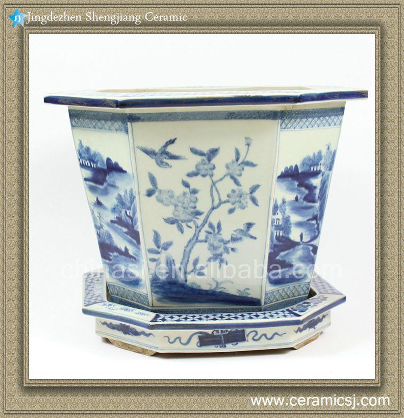traditional Chinese style hand Painted B/W Planter