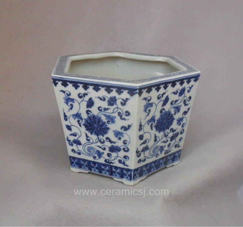 blue white ceramic flower pot WRYSZ02