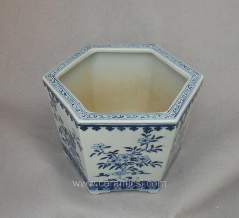 Blue and white hexagon Flower Pot WRYSZ04