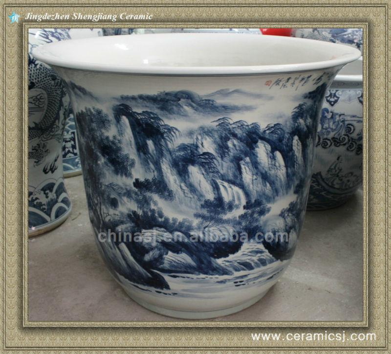RYWY07 Large Hand painted Chinese Scenery Flower Pots