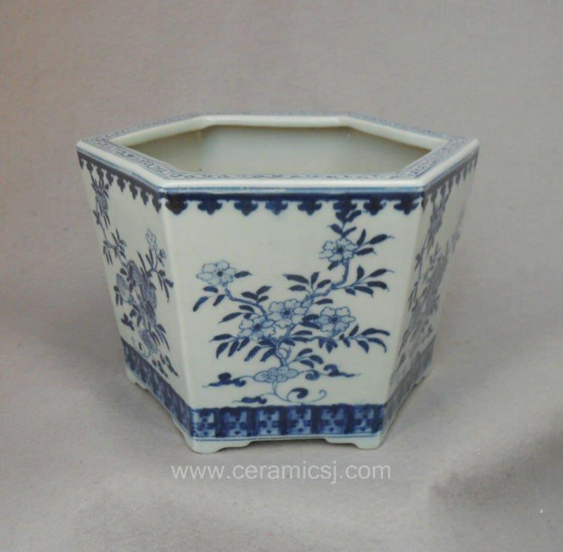 pure hand painted blue and white hexagon Flower Pot WRYSZ04