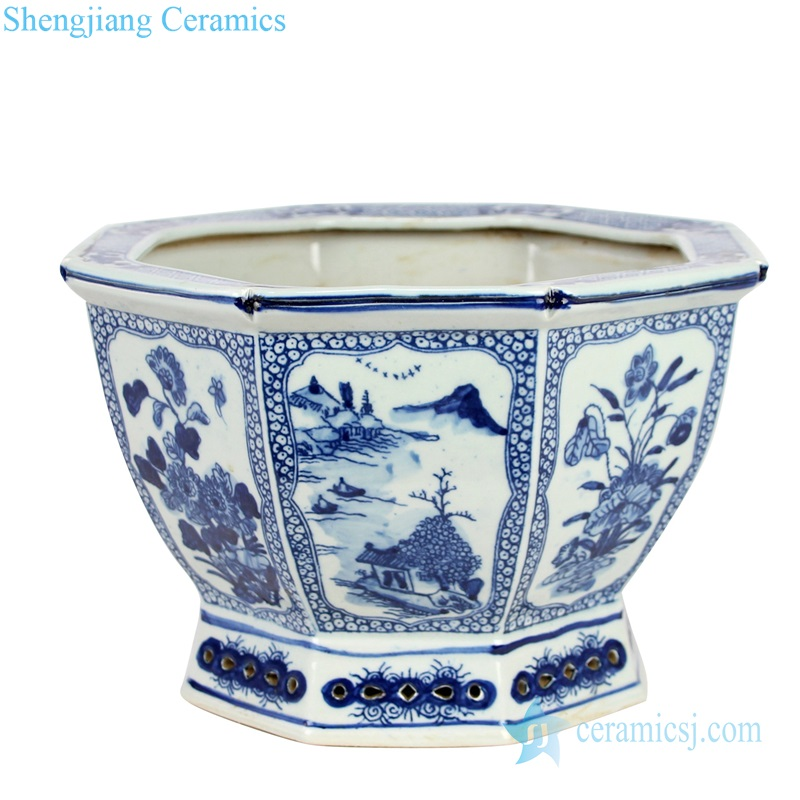 Qing dynasty antique ceramic flower pot