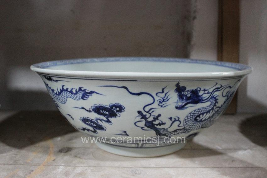 blue and white mandarin duck porcelain large bowl
