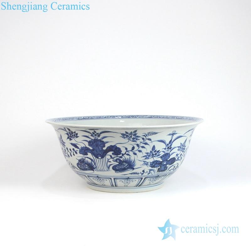 style blue and white mandarin duck porcelain large bowl