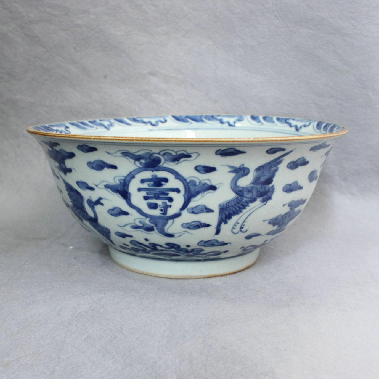 Exquisitely carved blue and white ceramic flower pot wholesale