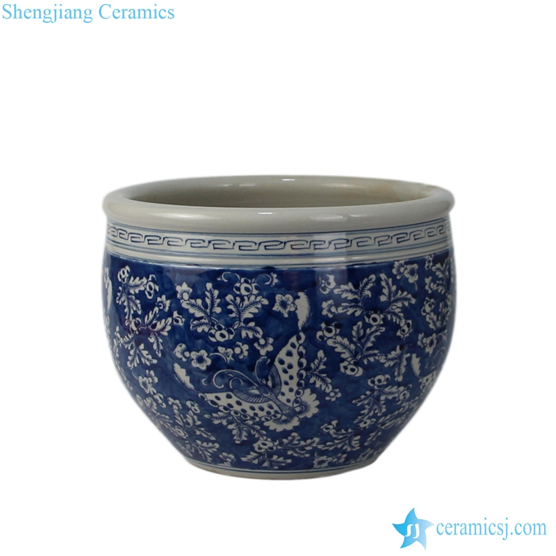 pure hand painted oriental blue and white flower pot