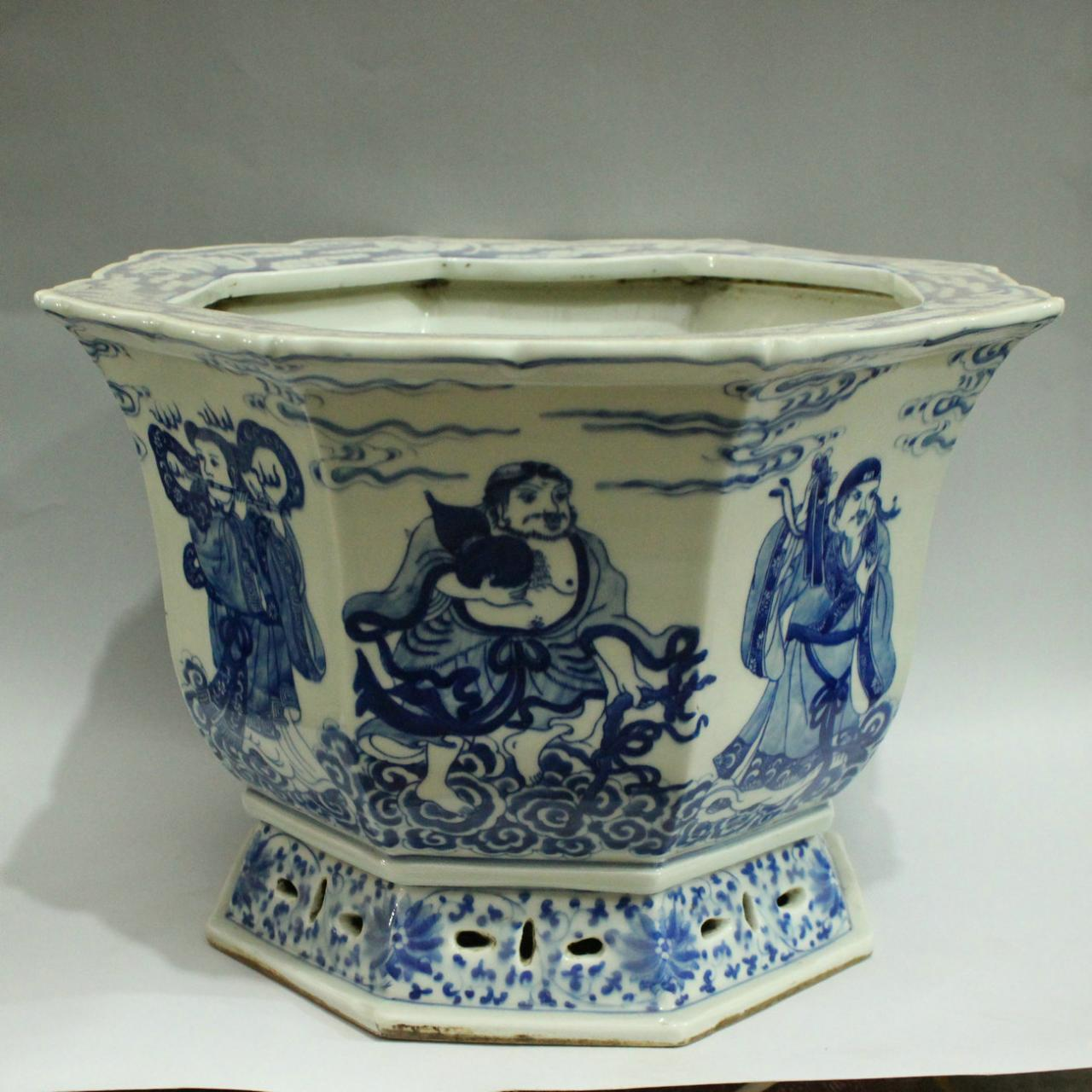 Exquisitely carved blue and white antique ceramic flower pot