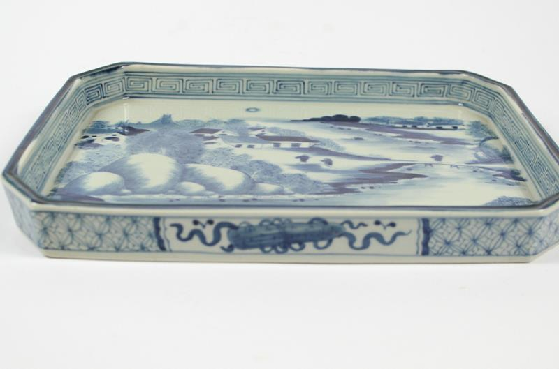modern style square Hand Painted Blue and white planter, landscape and floral design