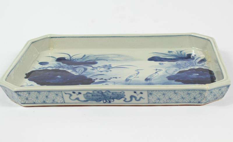 square Hand Painted Blue and white planter, landscape and floral design