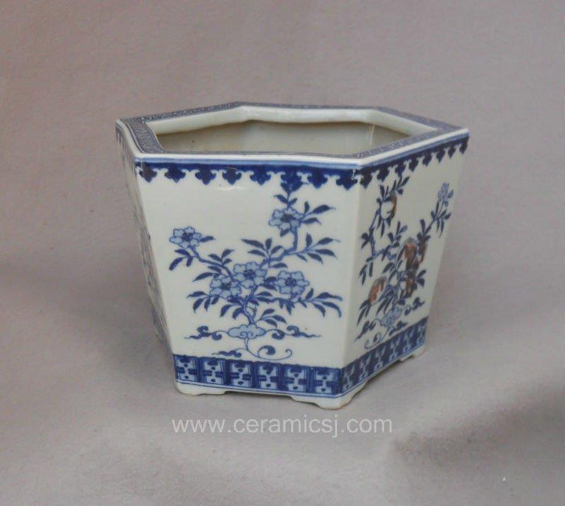 modern style blue and white peach design planter